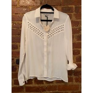 NWT White Button Down With Silver Rivet Detail